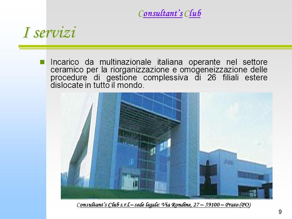 9 I servizi Incarico da multinazionale italiana operante nel settore ceramico per la riorganizzazione e omogeneizzazione delle procedure di gestione complessiva di 26 filiali estere dislocate in tutto il mondo.