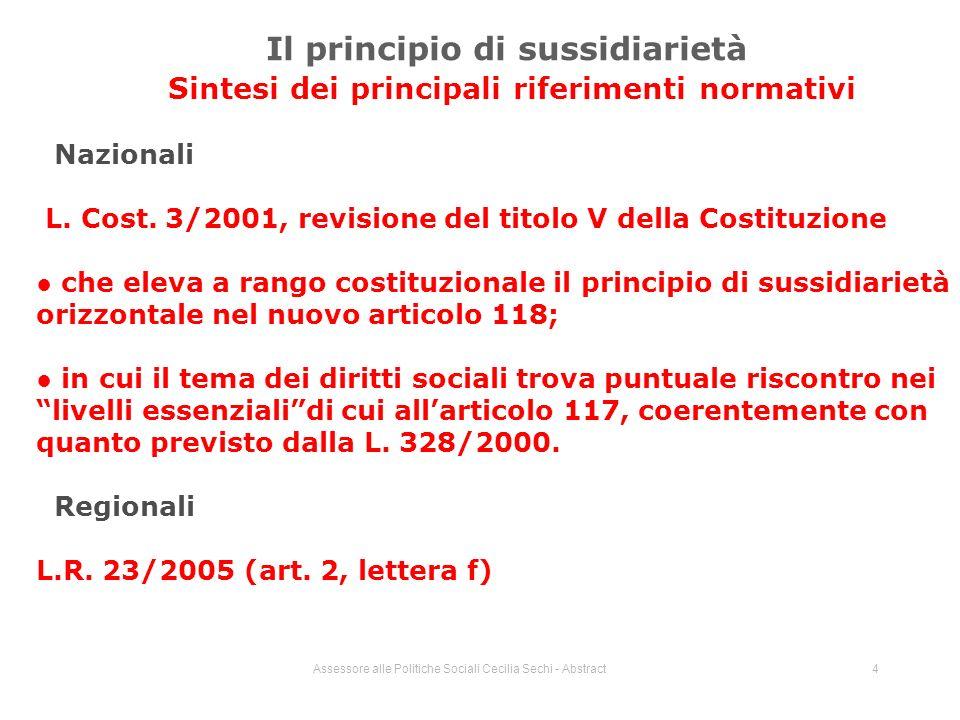 Assessore alle Politiche Sociali Cecilia Sechi - Abstract4 Il principio di sussidiarietà Sintesi dei principali riferimenti normativi Nazionali L.