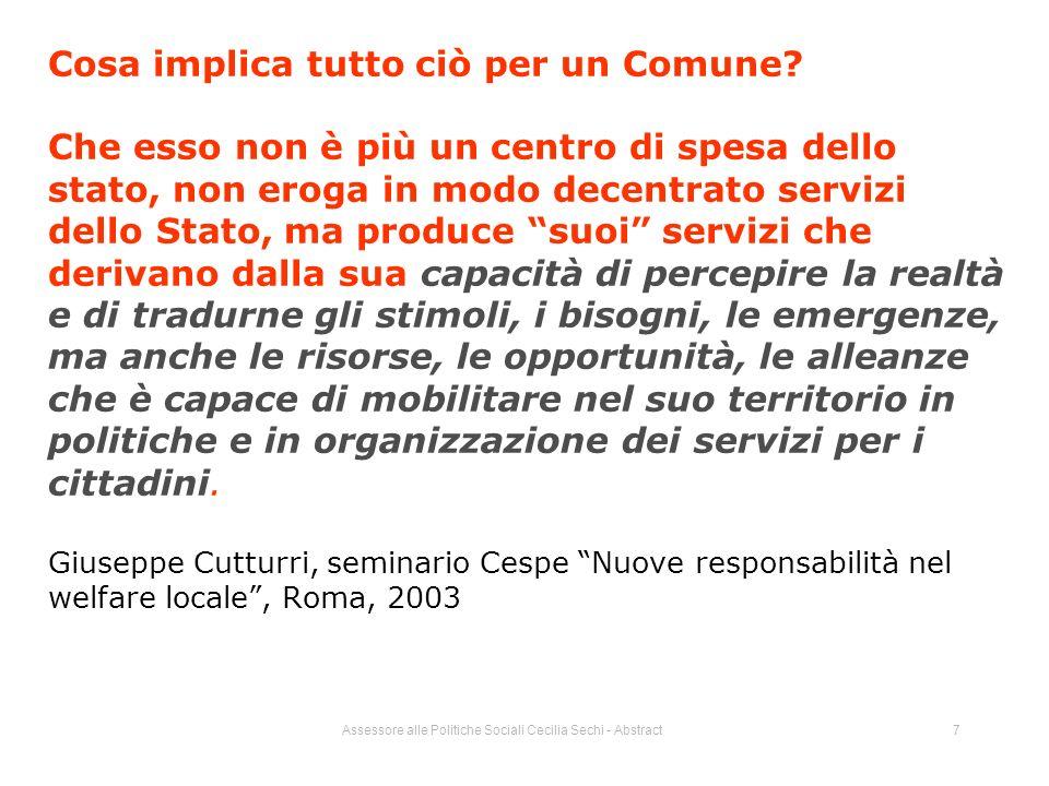 Assessore alle Politiche Sociali Cecilia Sechi - Abstract7 Cosa implica tutto ciò per un Comune.