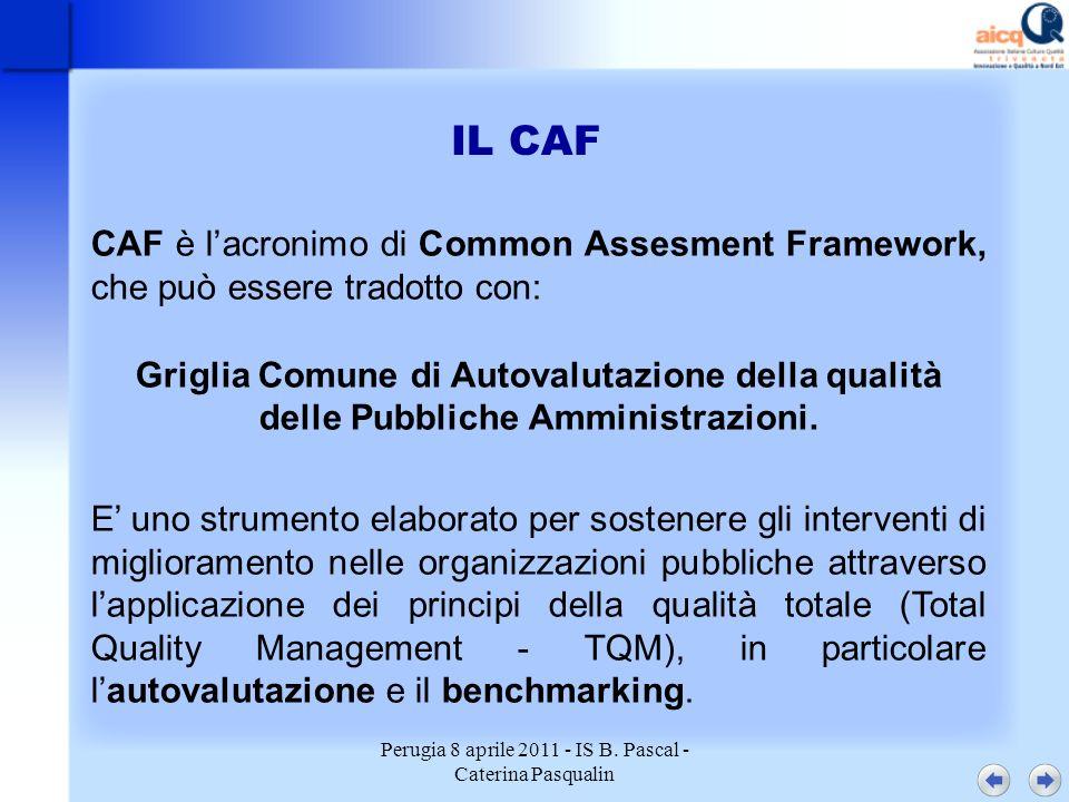 Perugia 8 aprile 2011 - IS B. Pascal - Caterina Pasqualin IL CAF CAF è lacronimo di Common Assesment Framework, che può essere tradotto con: Griglia C