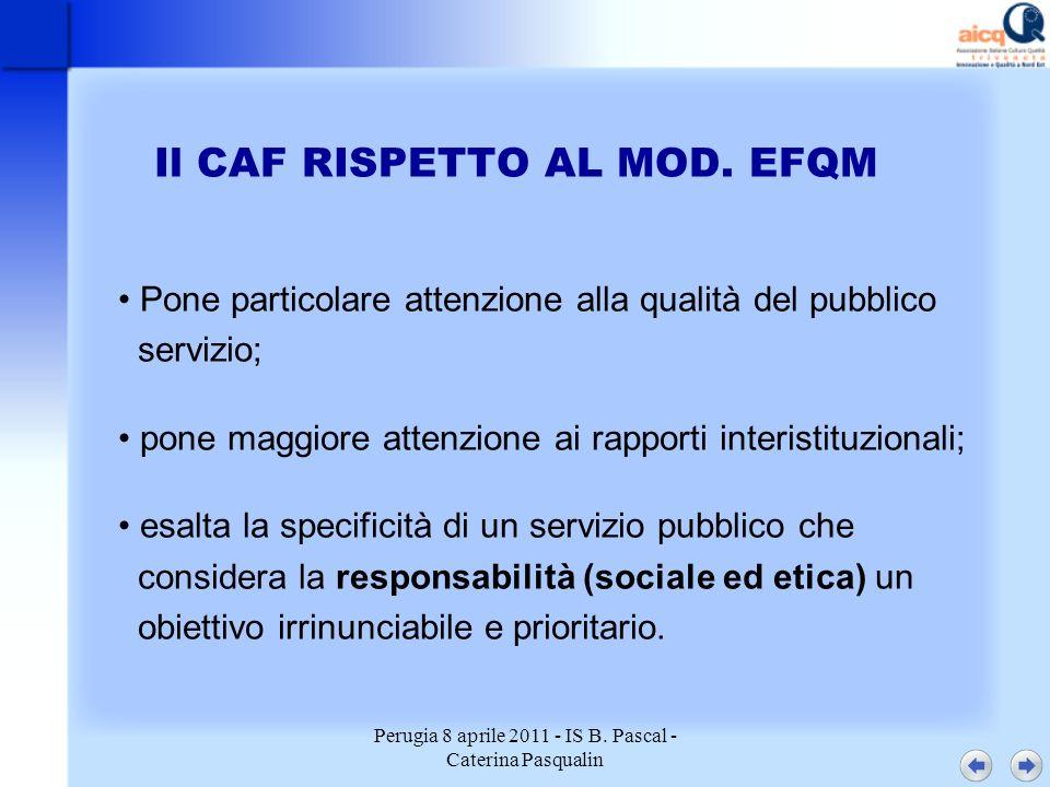 Perugia 8 aprile 2011 - IS B. Pascal - Caterina Pasqualin Il CAF RISPETTO AL MOD. EFQM Pone particolare attenzione alla qualità del pubblico servizio;