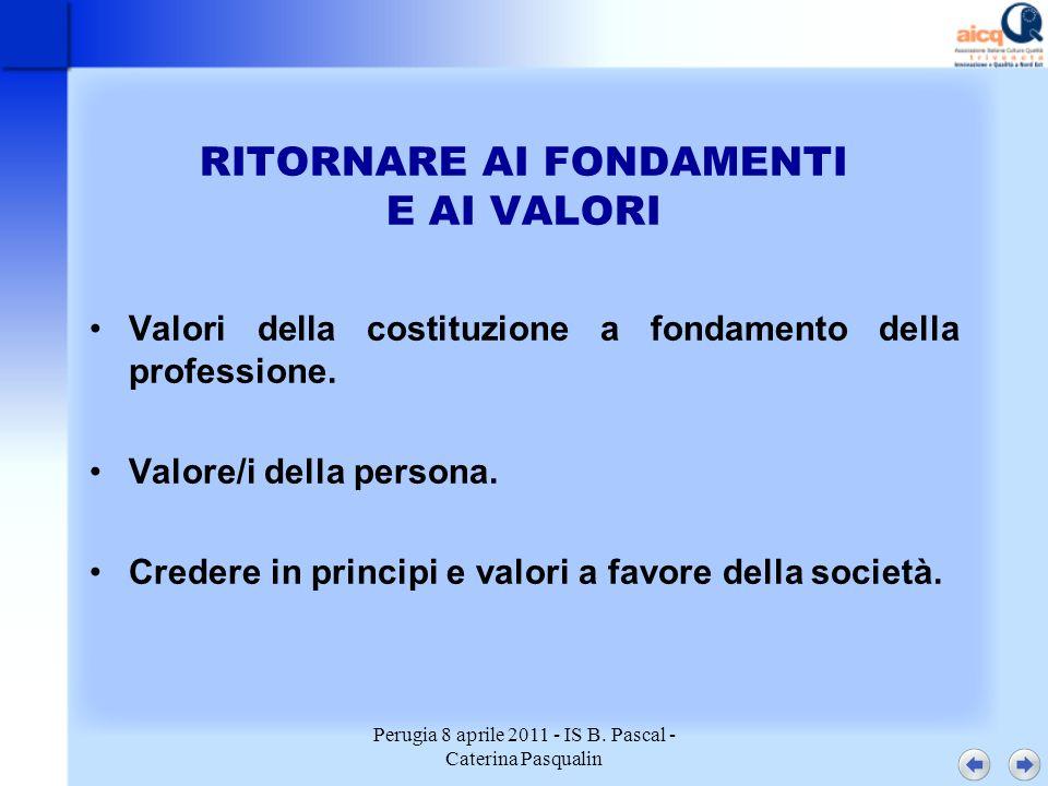 Perugia 8 aprile 2011 - IS B. Pascal - Caterina Pasqualin RITORNARE AI FONDAMENTI E AI VALORI Valori della costituzione a fondamento della professione