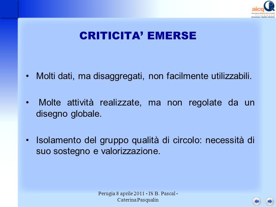 Perugia 8 aprile 2011 - IS B. Pascal - Caterina Pasqualin CRITICITA EMERSE Molti dati, ma disaggregati, non facilmente utilizzabili. Molte attività re