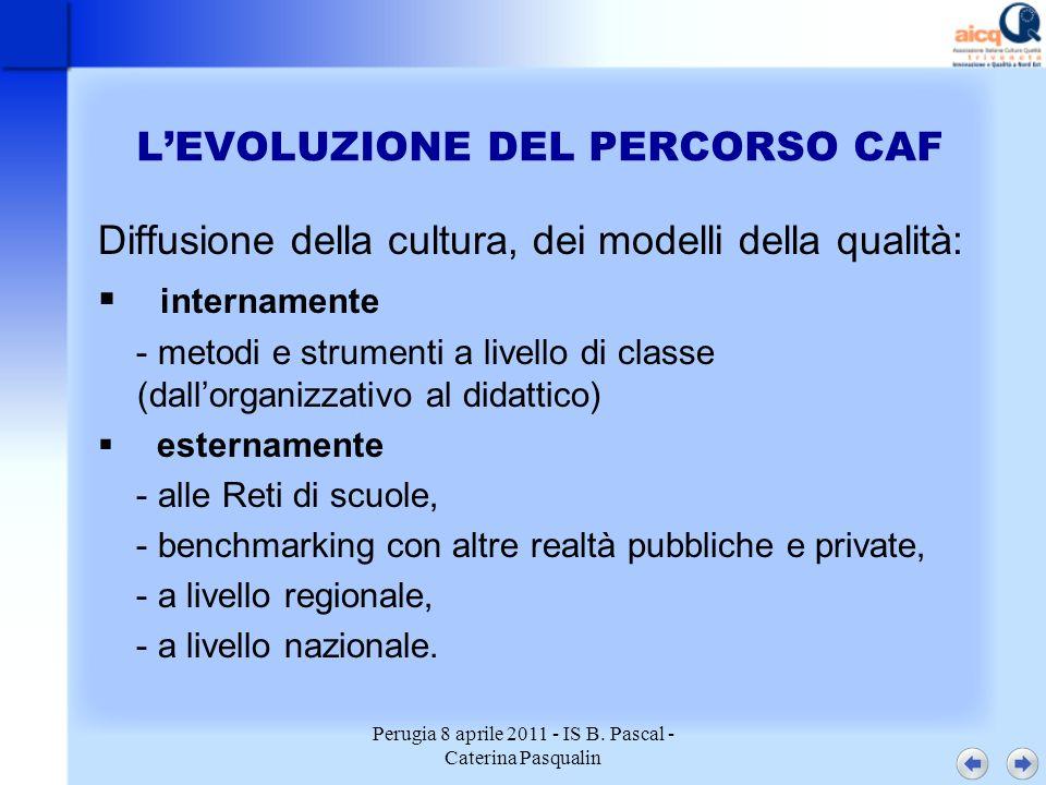 Perugia 8 aprile 2011 - IS B. Pascal - Caterina Pasqualin LEVOLUZIONE DEL PERCORSO CAF Diffusione della cultura, dei modelli della qualità: internamen