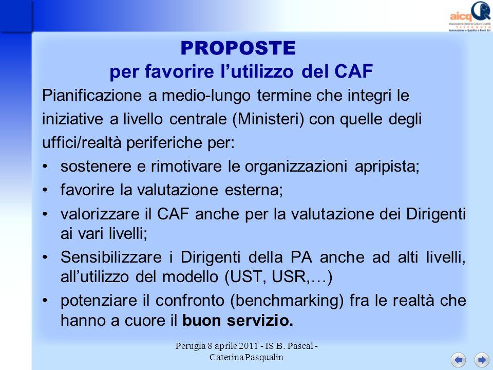 Perugia 8 aprile 2011 - IS B. Pascal - Caterina Pasqualin PROPOSTE per favorire lutilizzo del CAF Pianificazione a medio-lungo termine che integri le