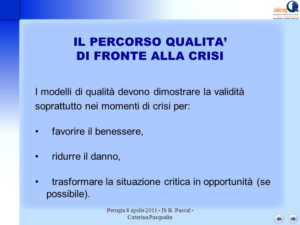 Perugia 8 aprile 2011 - IS B. Pascal - Caterina Pasqualin IL PERCORSO QUALITA DI FRONTE ALLA CRISI I modelli di qualità devono dimostrare la validità