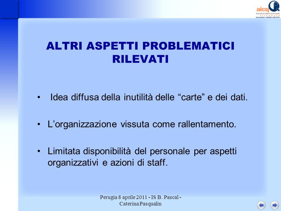 Perugia 8 aprile 2011 - IS B. Pascal - Caterina Pasqualin ALTRI ASPETTI PROBLEMATICI RILEVATI Idea diffusa della inutilità delle carte e dei dati. Lor