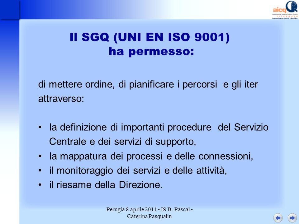 Perugia 8 aprile 2011 - IS B. Pascal - Caterina Pasqualin Il SGQ (UNI EN ISO 9001) ha permesso: di mettere ordine, di pianificare i percorsi e gli ite