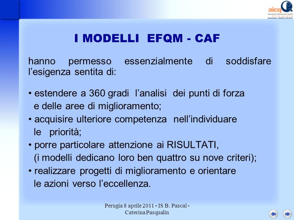 Perugia 8 aprile 2011 - IS B. Pascal - Caterina Pasqualin I MODELLI EFQM - CAF hanno permesso essenzialmente di soddisfare lesigenza sentita di: esten