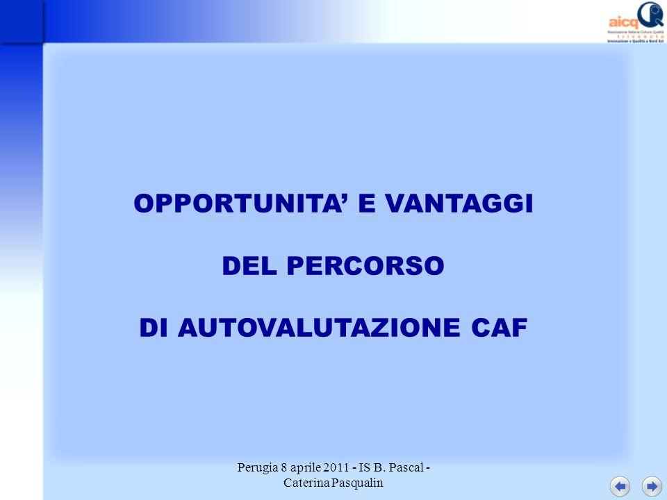 Perugia 8 aprile 2011 - IS B. Pascal - Caterina Pasqualin OPPORTUNITA E VANTAGGI DEL PERCORSO DI AUTOVALUTAZIONE CAF