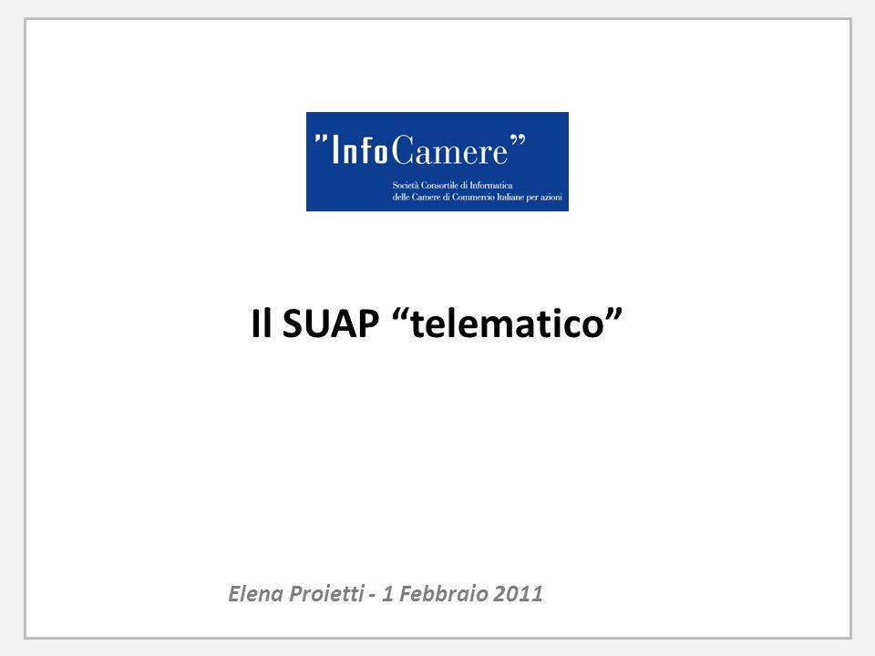 Il SUAP telematico Elena Proietti - 1 Febbraio 2011