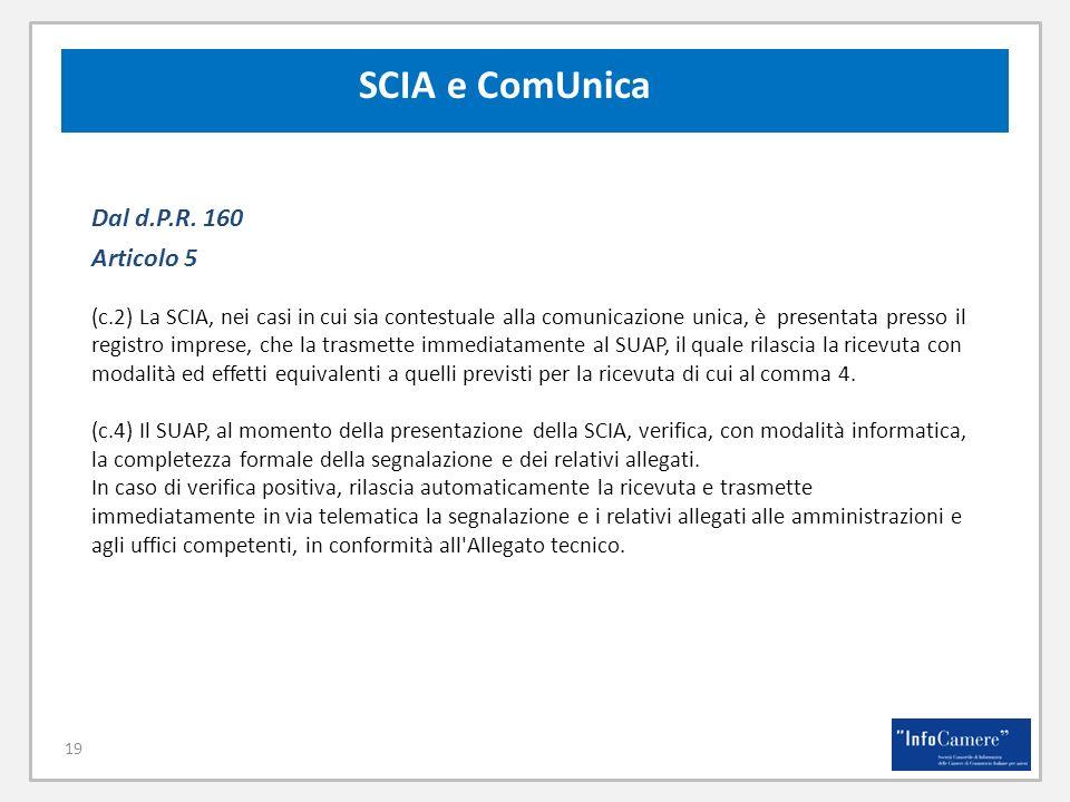 19 Dal d.P.R. 160 Articolo 5 (c.2) La SCIA, nei casi in cui sia contestuale alla comunicazione unica, è presentata presso il registro imprese, che la