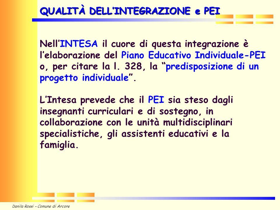 Danila Rossi – Comune di Arcore NellINTESA il cuore di questa integrazione è lelaborazione del Piano Educativo Individuale-PEI o, per citare la l.