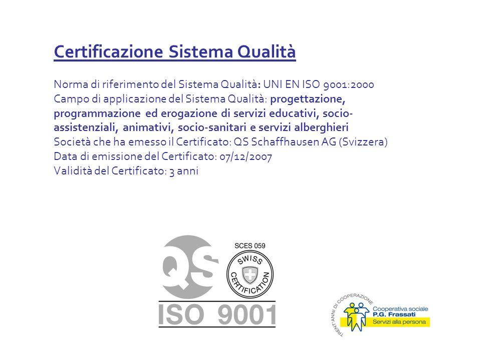 Certificazione Sistema Qualità Norma di riferimento del Sistema Qualità: UNI EN ISO 9001:2000 Campo di applicazione del Sistema Qualità: progettazione, programmazione ed erogazione di servizi educativi, socio- assistenziali, animativi, socio-sanitari e servizi alberghieri Società che ha emesso il Certificato: QS Schaffhausen AG (Svizzera) Data di emissione del Certificato: 07/12/2007 Validità del Certificato: 3 anni