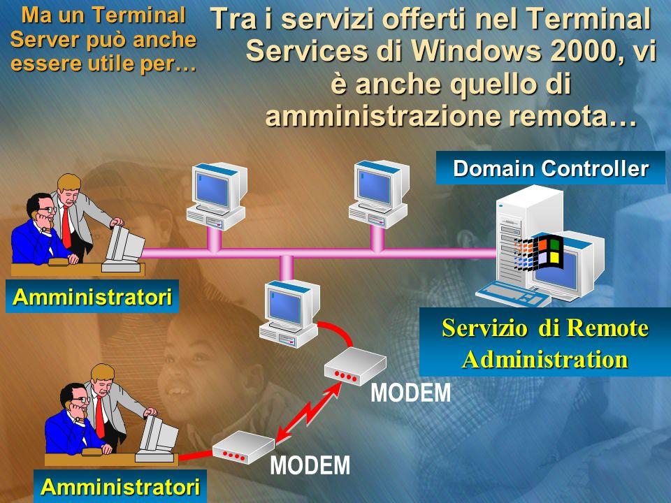 Ma un Terminal Server può anche essere utile per… Tra i servizi offerti nel Terminal Services di Windows 2000, vi è anche quello di amministrazione re