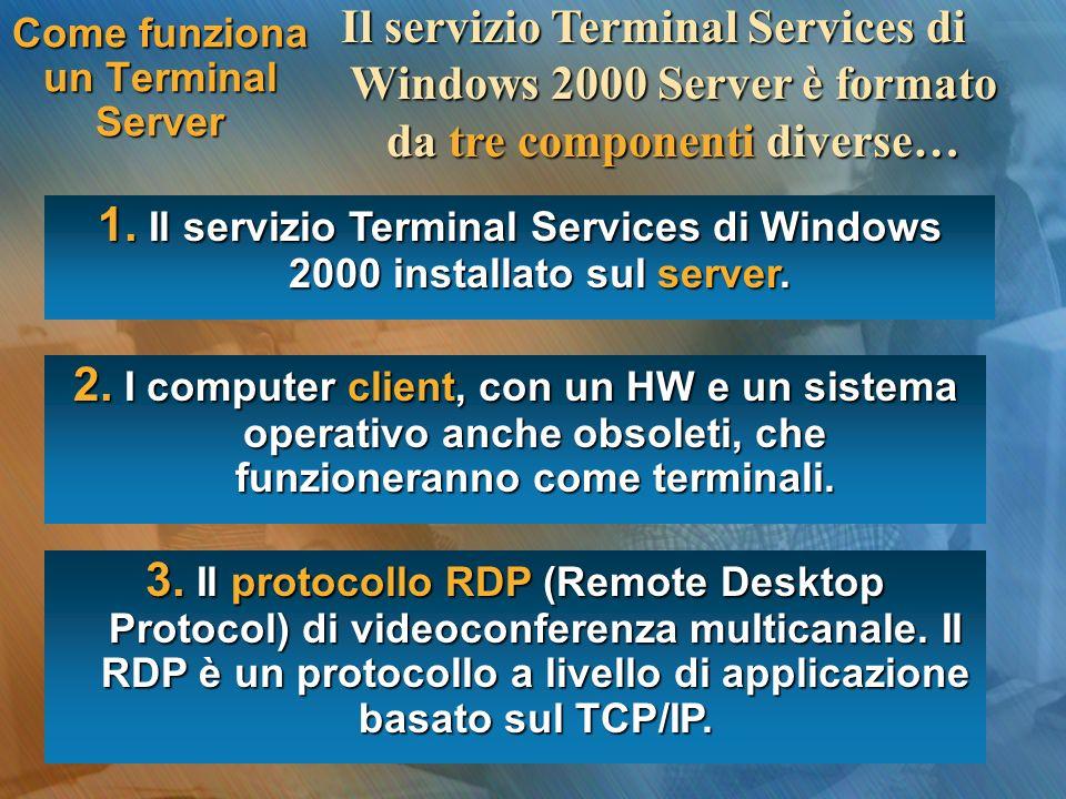 Come funziona un Terminal Server Il servizio Terminal Services di Windows 2000 Server è formato da tre componenti diverse… 1. Il servizio Terminal Ser