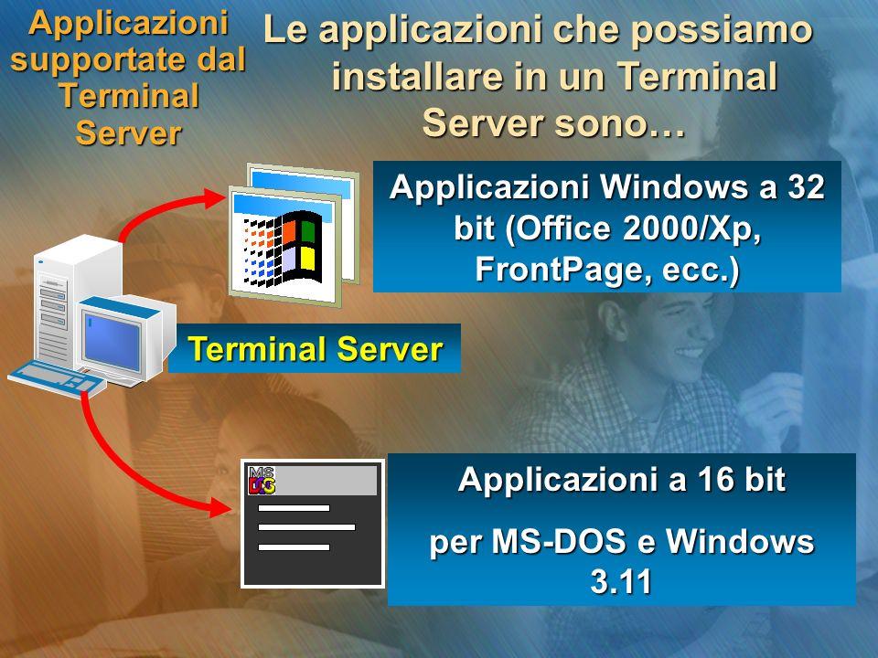 Applicazioni supportate dal Terminal Server Le applicazioni che possiamo installare in un Terminal Server sono… Terminal Server Applicazioni Windows a