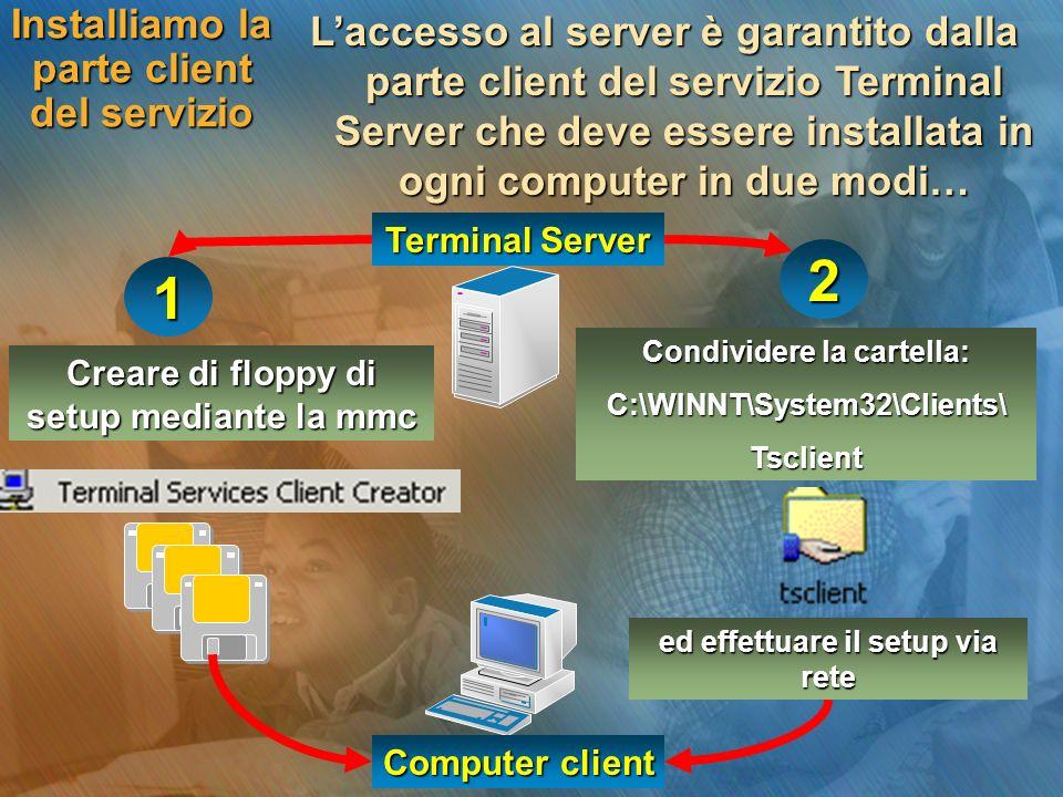 Installiamo la parte client del servizio Laccesso al server è garantito dalla parte client del servizio Terminal Server che deve essere installata in