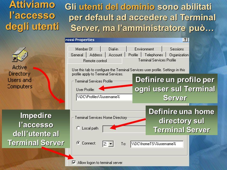 Attiviamo laccesso degli utenti Gli utenti del dominio sono abilitati per default ad accedere al Terminal Server, ma lamministratore può… Definire un