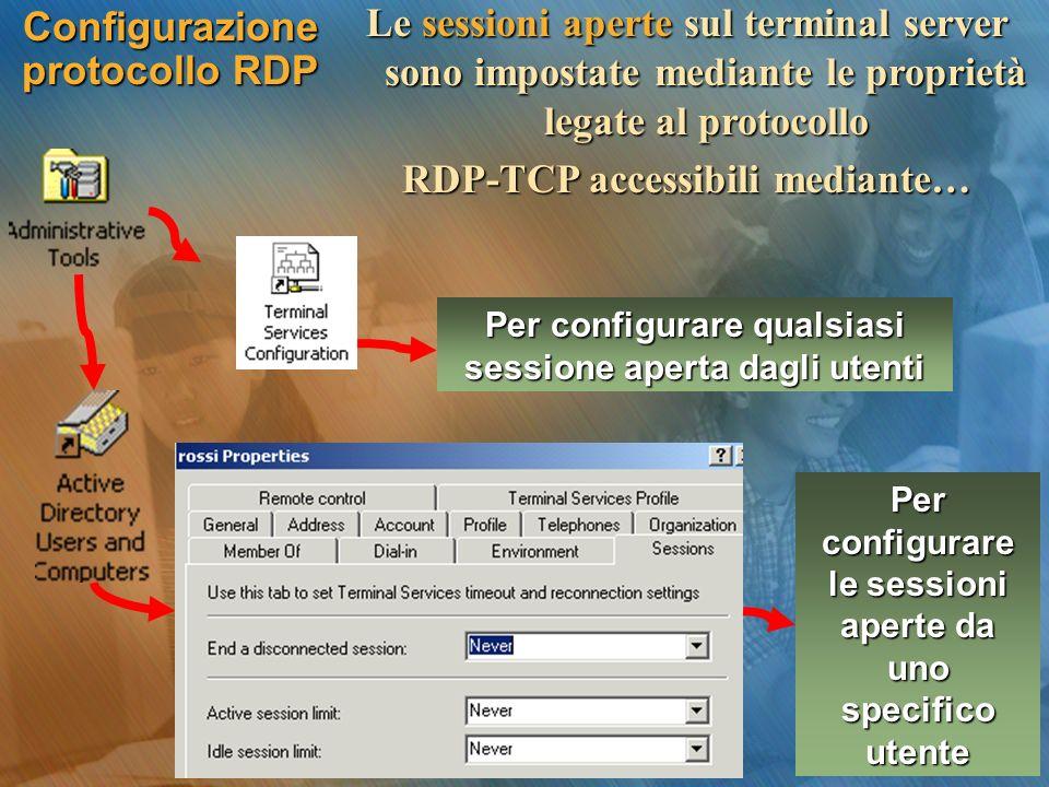 Configurazione protocollo RDP Le sessioni aperte sul terminal server sono impostate mediante le proprietà legate al protocollo RDP-TCP accessibili med
