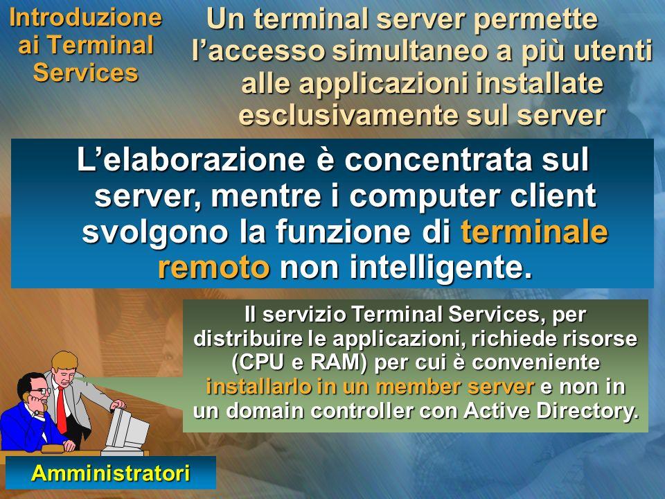 Introduzione ai Terminal Services Un terminal server permette laccesso simultaneo a più utenti alle applicazioni installate esclusivamente sul server