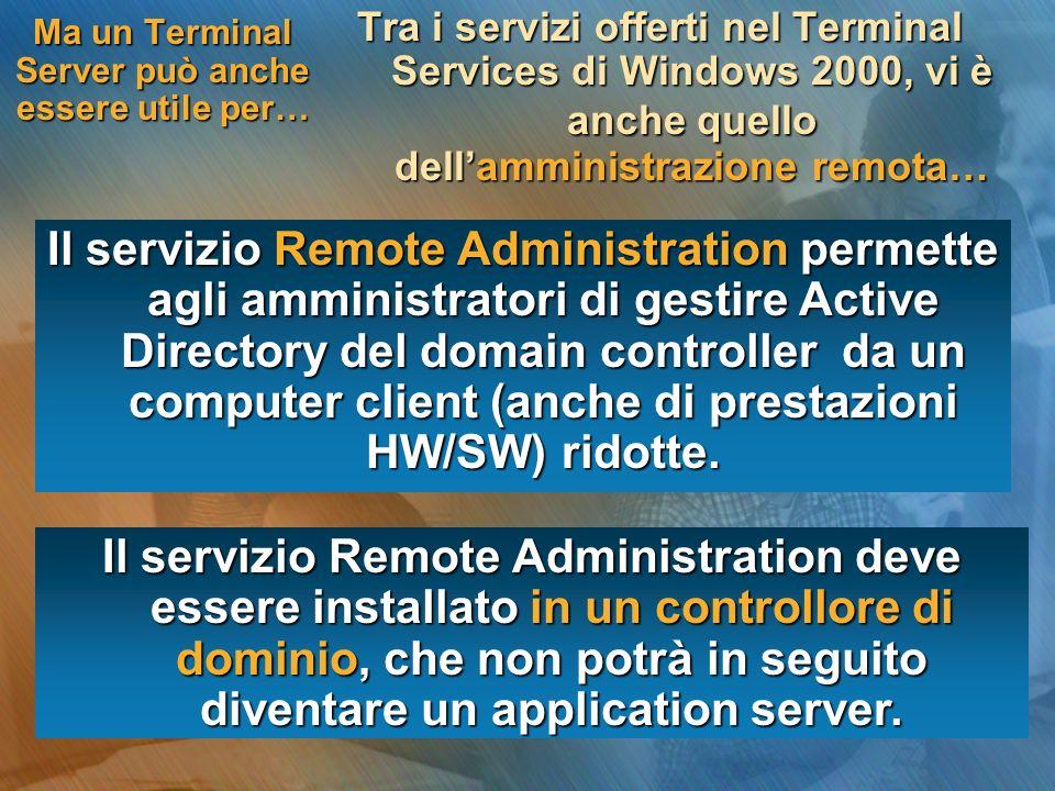 Installazione del servizio Terminal Servicies Installazione di un Terminal Server in una rete Linstallazione di un application server in una rete richiede i seguenti passi… 2 3 4 1 Attivazione dellaccesso al server per gli utenti Installazione della parte client del servizio Terminal Server Configurazione del protocollo RDP-TCP