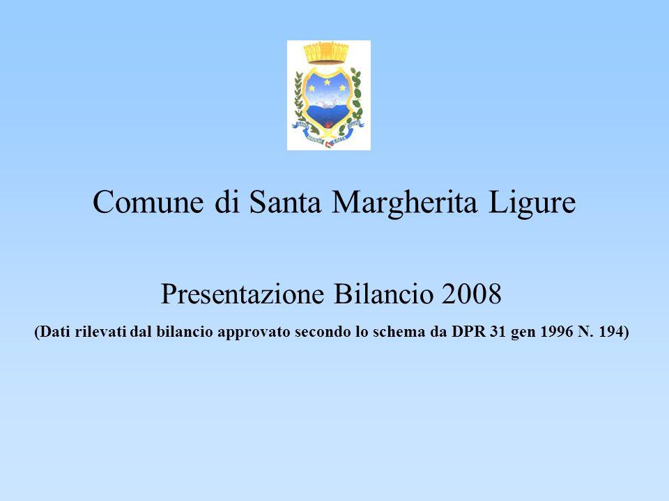 Comune di Santa Margherita Ligure Presentazione Bilancio 2008 (Dati rilevati dal bilancio approvato secondo lo schema da DPR 31 gen 1996 N.