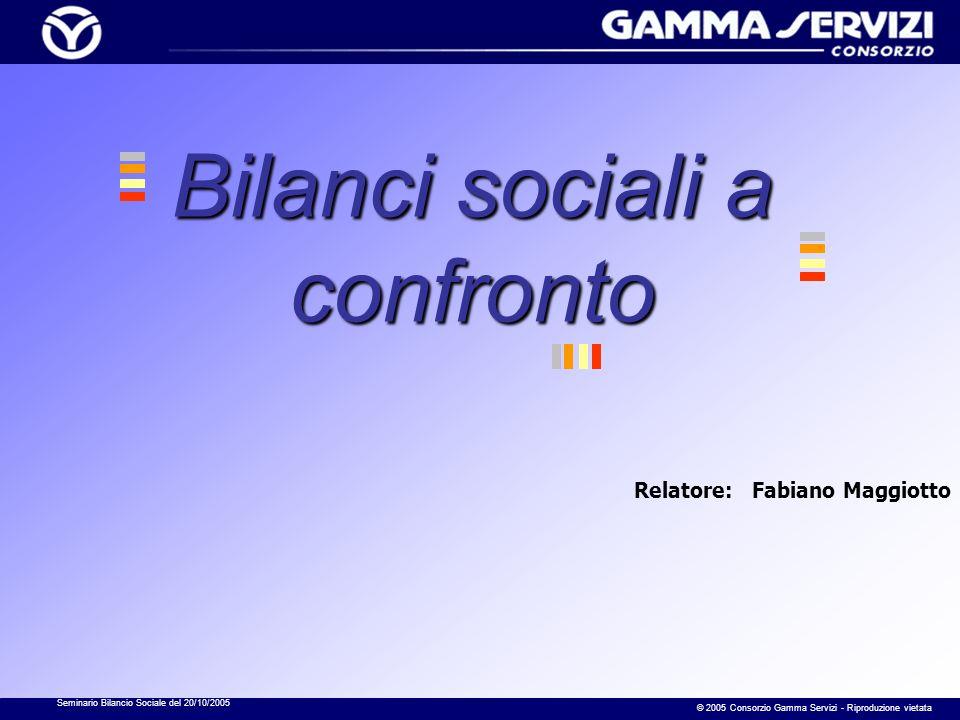 Seminario Bilancio Sociale del 20/10/2005 © 2005 Consorzio Gamma Servizi - Riproduzione vietata Bilanci sociali a confronto Relatore: Fabiano Maggiott