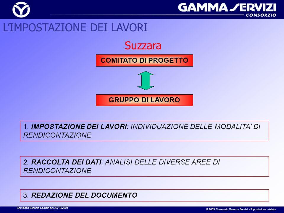 Seminario Bilancio Sociale del 20/10/2005 © 2005 Consorzio Gamma Servizi - Riproduzione vietata Suzzara 1. IMPOSTAZIONE DEI LAVORI: INDIVIDUAZIONE DEL