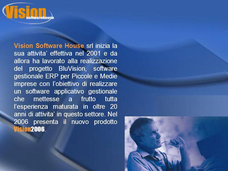 Vision Software House srl inizia la sua attivita effettiva nel 2001 e da allora ha lavorato alla realizzazione del progetto BluVision, software gestionale ERP per Piccole e Medie imprese con lobiettivo di realizzare un software applicativo gestionale che mettesse a frutto tutta lesperienza maturata in oltre 20 anni di attivita in questo settore.