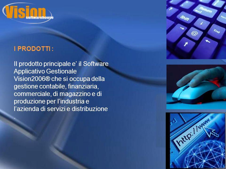I PRODOTTI : Il prodotto principale e il Software Applicativo Gestionale Vision2006® che si occupa della gestione contabile, finanziaria, commerciale, di magazzino e di produzione per lindustria e lazienda di servizi e distribuzione.