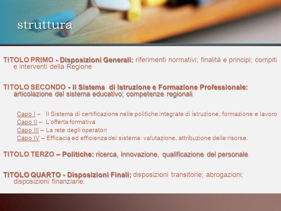 struttura TITOLO PRIMO - Disposizioni Generali: TITOLO PRIMO - Disposizioni Generali: riferimenti normativi; finalità e principi; compiti e interventi