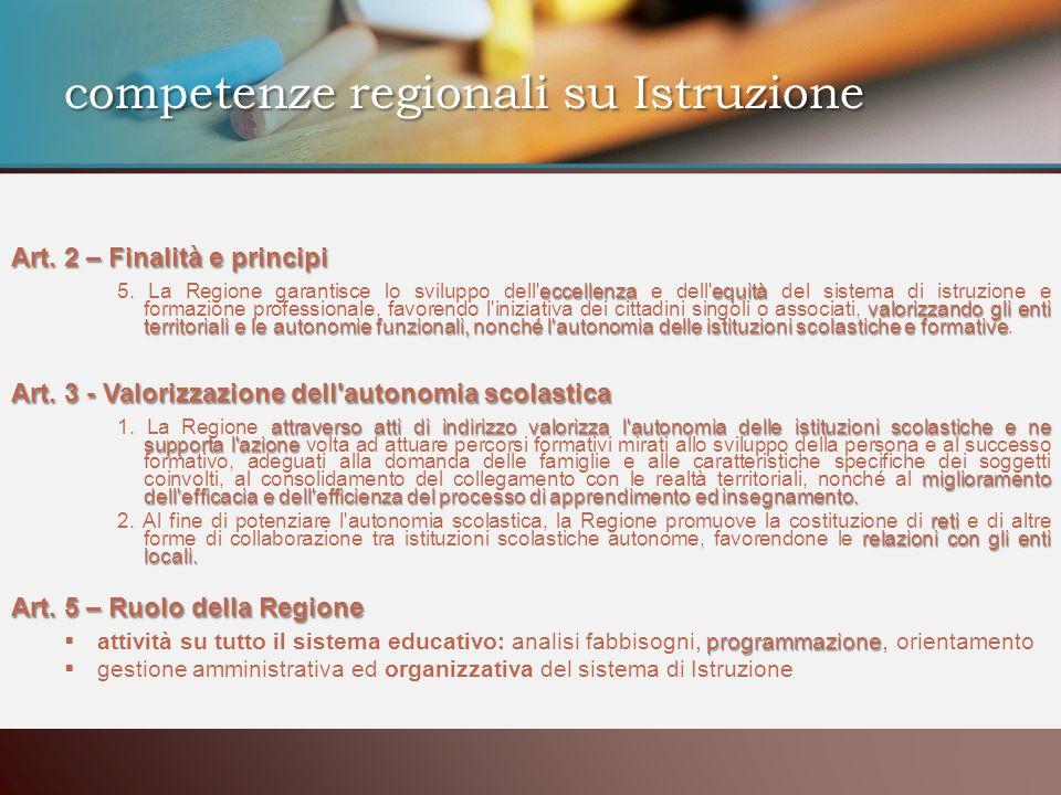 competenze regionali su Istruzione Art. 2 – Finalità e principi eccellenzaequità valorizzando gli enti territoriali e le autonomie funzionali, nonché