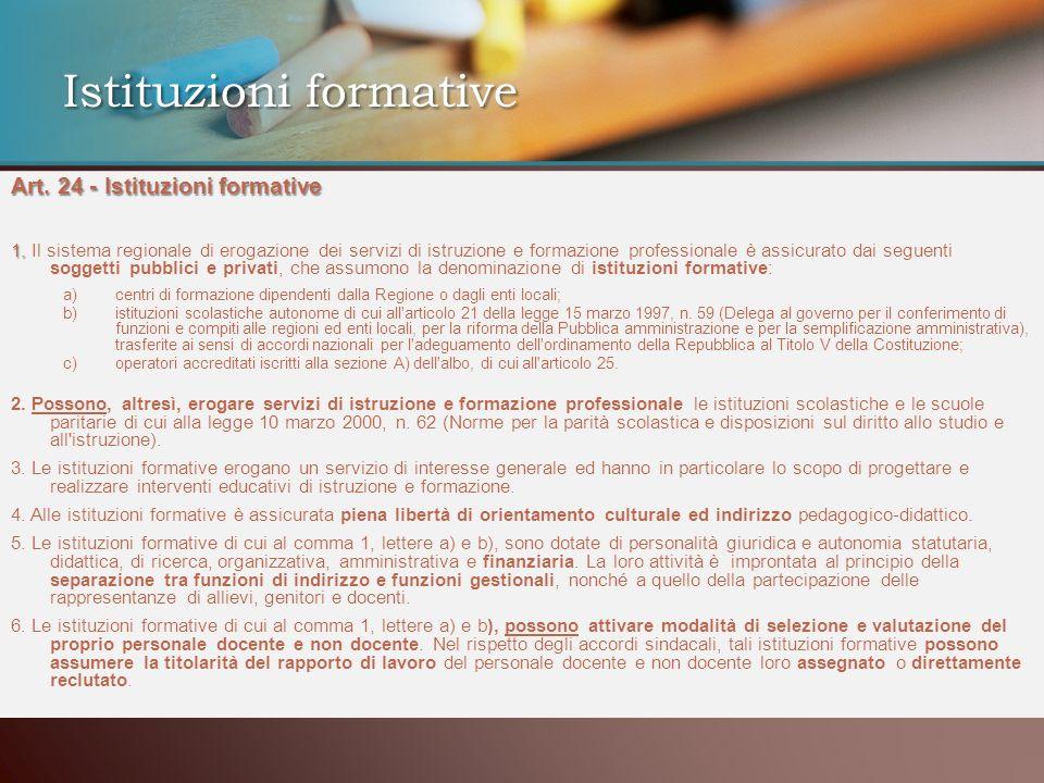 Art. 24 - Istituzioni formative 1. 1. Il sistema regionale di erogazione dei servizi di istruzione e formazione professionale è assicurato dai seguent