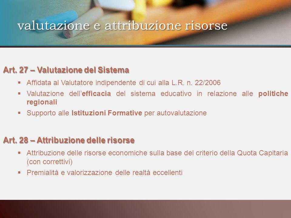valutazione e attribuzione risorse Art. 27 – Valutazione del Sistema Affidata al Valutatore indipendente di cui alla L.R. n. 22/2006 Valutazione delle