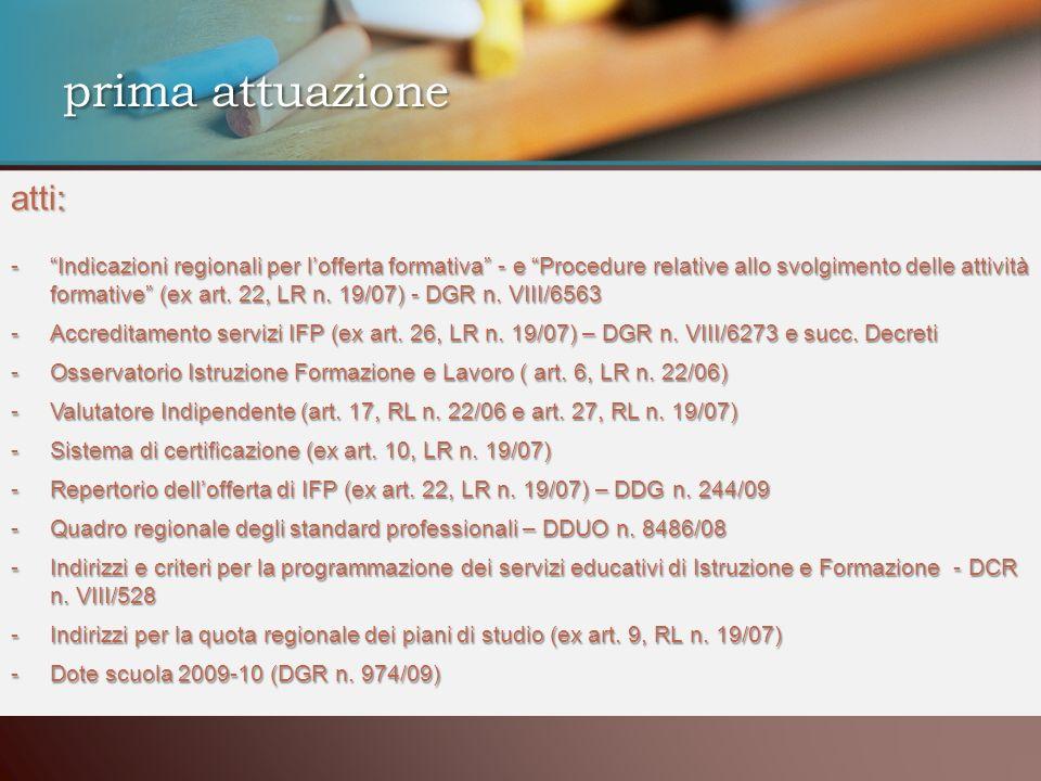 prima attuazione atti : atti: -Indicazioni regionali per lofferta formativa - e Procedure relative allo svolgimento delle attività formative (ex art.