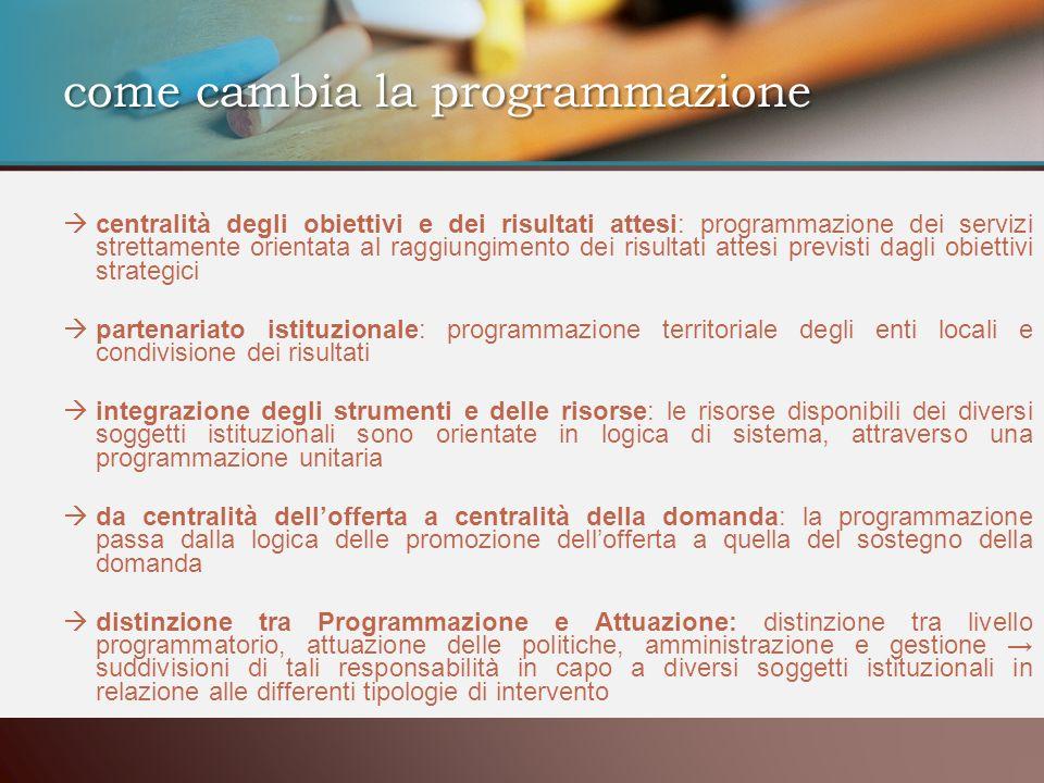 centralità degli obiettivi e dei risultati attesi: programmazione dei servizi strettamente orientata al raggiungimento dei risultati attesi previsti d