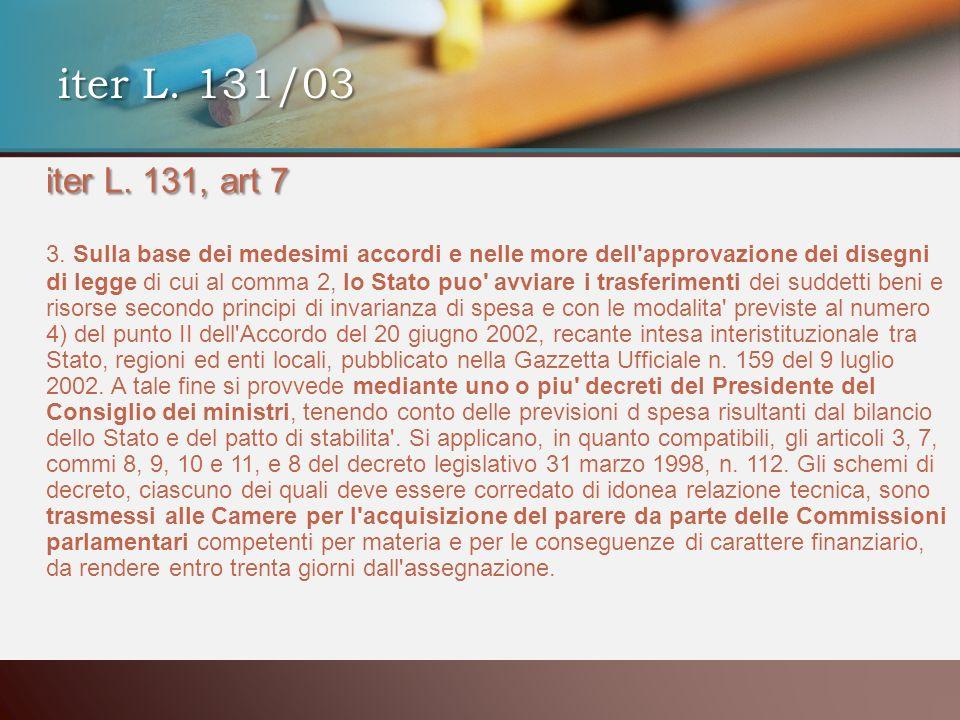 iter L. 131, art 7 3. Sulla base dei medesimi accordi e nelle more dell'approvazione dei disegni di legge di cui al comma 2, lo Stato puo' avviare i t