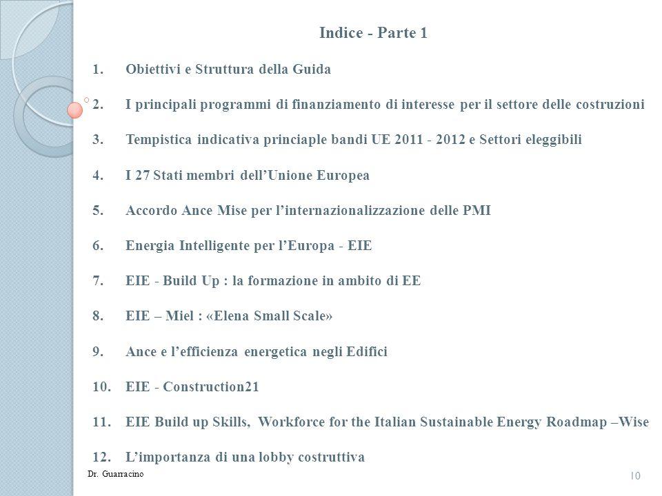 10 Indice - Parte 1 1.Obiettivi e Struttura della Guida 2.I principali programmi di finanziamento di interesse per il settore delle costruzioni 3.Temp