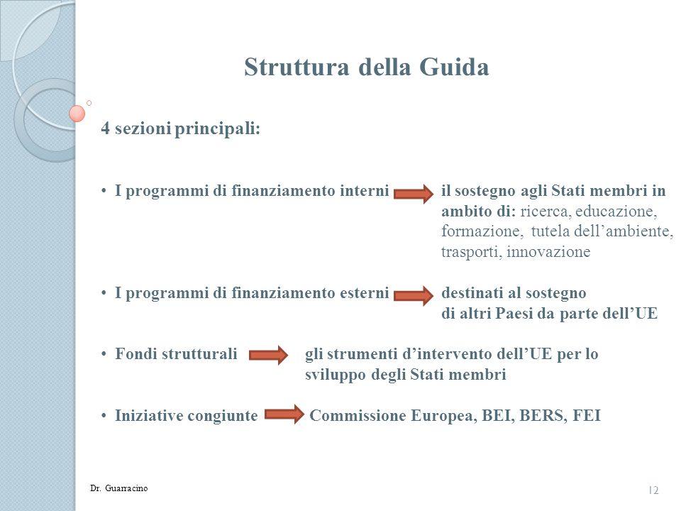 12 Struttura della Guida 4 sezioni principali: I programmi di finanziamento interni il sostegno agli Stati membri in ambito di: ricerca, educazione, f