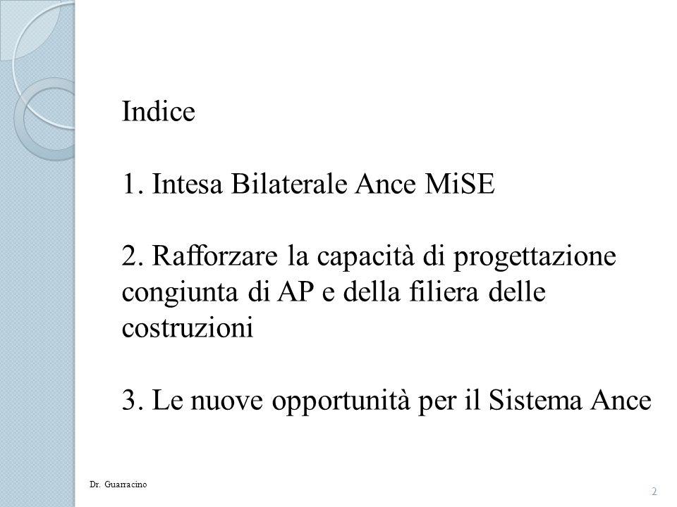 2 Indice 1. Intesa Bilaterale Ance MiSE 2. Rafforzare la capacità di progettazione congiunta di AP e della filiera delle costruzioni 3. Le nuove oppor
