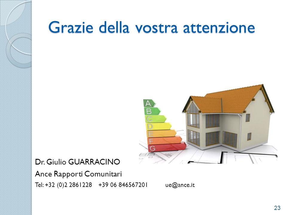 Grazie della vostra attenzione Dr. Giulio GUARRACINO Ance Rapporti Comunitari Tel: +32 (0)2 2861228 +39 06 846567201 ue@ance.it 23