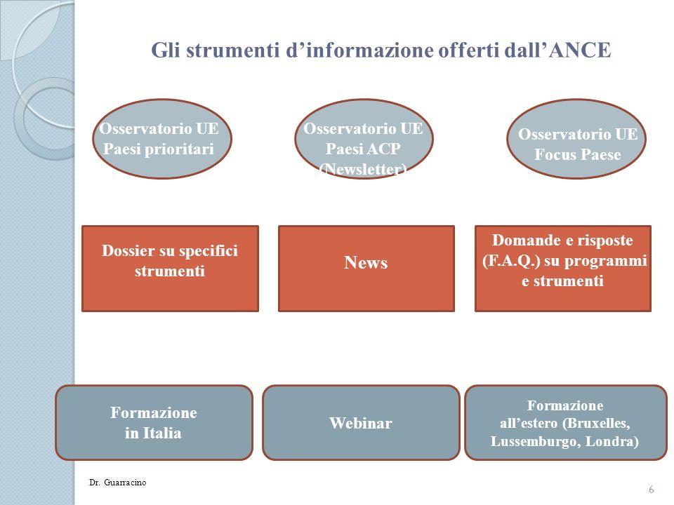 Gli strumenti dinformazione offerti dallANCE 6 Osservatorio UE Paesi prioritari Osservatorio UE Focus Paese Osservatorio UE Paesi ACP (Newsletter) Dos