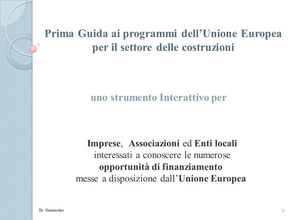 10 Indice - Parte 1 1.Obiettivi e Struttura della Guida 2.I principali programmi di finanziamento di interesse per il settore delle costruzioni 3.Tempistica indicativa princiaple bandi UE 2011 - 2012 e Settori eleggibili 4.I 27 Stati membri dellUnione Europea 5.Accordo Ance Mise per linternazionalizzazione delle PMI 6.Energia Intelligente per lEuropa - EIE 7.EIE - Build Up : la formazione in ambito di EE 8.EIE – Miel : «Elena Small Scale» 9.Ance e lefficienza energetica negli Edifici 10.EIE - Construction21 11.EIE Build up Skills, Workforce for the Italian Sustainable Energy Roadmap –Wise 12.Limportanza di una lobby costruttiva Dr.