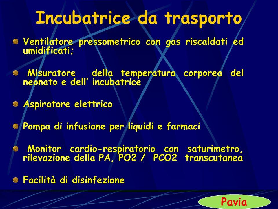 Incubatrice da trasporto Ventilatore pressometrico con gas riscaldati ed umidificati; Misuratore della temperatura corporea del neonato e dell incubat