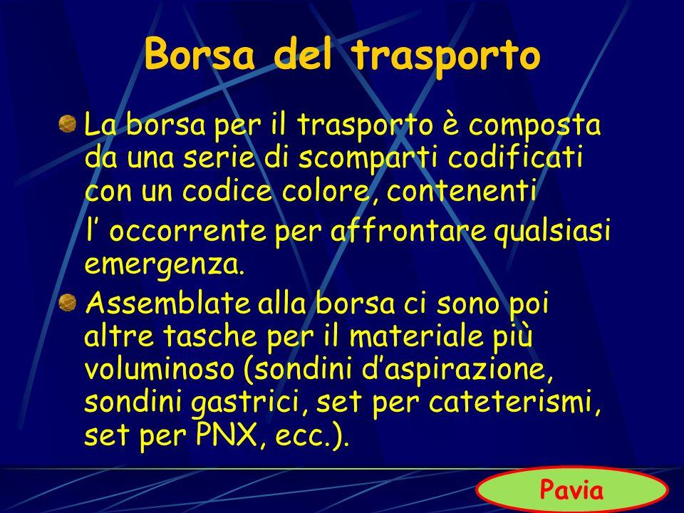 Borsa del trasporto La borsa per il trasporto è composta da una serie di scomparti codificati con un codice colore, contenenti l occorrente per affron