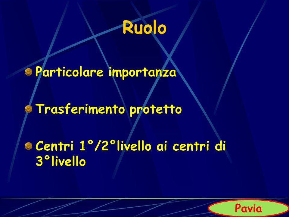 Ruolo Particolare importanza Trasferimento protetto Centri 1°/2°livello ai centri di 3°livello Pavia
