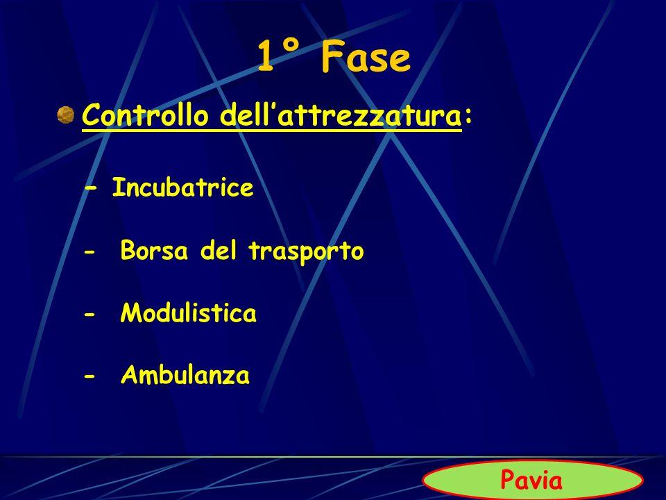 1° Fase Controllo dellattrezzatura: - Incubatrice - Borsa del trasporto - Modulistica - Ambulanza Pavia