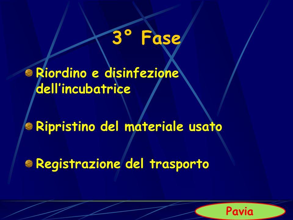 3° Fase Riordino e disinfezione dellincubatrice Ripristino del materiale usato Registrazione del trasporto Pavia