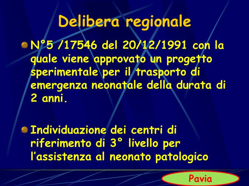 Delibera regionale N°5 /17546 del 20/12/1991 con la quale viene approvato un progetto sperimentale per il trasporto di emergenza neonatale della durat